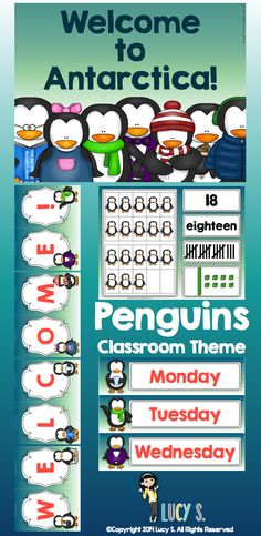 Penguins Classroom Theme Decor - take your students on a trip to Antarctica with this printable classroom decoration! Number posters, calendar set, welcome banner, desk name plates, and more!