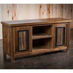 Eagle River Timber Frame Barnwood Media Cabinet is part of Rustic Living Room TV Stand - Timber Frame Barnwood TV Stand Unique Wood Furniture, Rustic Living Room Furniture, Ikea Furniture, Furniture Outlet, Discount Furniture, Barn Wood, Rustic Wood, Rustic Decor, Reclaimed Wood Tv Stand