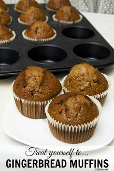 Gingerbread Muffins are one of my seasonal indulgences. A perfect antidote for harried days -- I promise. When that distinctive gingerbread aroma fills first your kitchen and then your whole house -- the world just Muffin Tin Recipes, Cupcake Recipes, Cupcake Cakes, Dessert Recipes, Cup Cakes, Gingerbread Muffins Recipe, Gingerbread Pancakes, Gingerbread Recipes, Gingerbread Houses