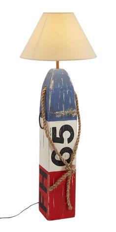 Bojen-Stehlampe, 152cm : So groß wie eine richtige Boje, aber aus Holz! Mit morbiden Charme und auffallenden Farben ein echtes Dekorations-Highlight. Hinter dem Schirm verbirgt sich eine E14-Fassung.