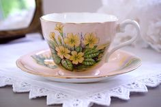 Aynsley Tea Cup and Saucer, Yellow Violets Floral Teacup Set, English Tea Cup…