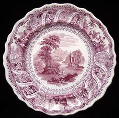 Rare Historical Ben Franklin Purple Transferware Plate ~ Moral Maxims 1830 Green And Brown, Red Green, Red And White, Vintage Plates, Vintage China, Fine China, Decorative Plates, Pottery, White Stuff
