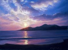 Waif Mullins Pastel Clouds, Pastel Art, Pastel Paintings, Waves, Mountains, Sunset, Landscape, Gallery, Nature