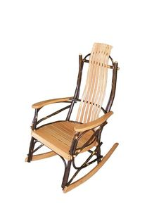 Rustic furniture for porch or patio. The A & L Hickory Wood Rocker from DutchCrafters. Made with hickory wood in natural or walnut f Amish Rocking Chairs, Outdoor Rocking Chairs, Hickory Sticks, Hickory Wood, Outdoor Living Furniture, Rustic Furniture, Living Room Seating, Wood Dust, Handmade Wooden