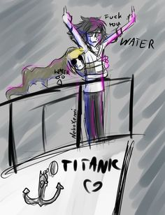 Ben drowned and jeff the killer on the titanic Creepypasta Cute, Creepypasta Proxy, Ben Drowned, Jeff The Killer, Memes Del Titanic, Creepy Pasta Family, Eyeless Jack, Dhmis, Laughing Jack