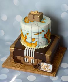 Vintage Travel Cake - Cake by Jamie Cupcakes Idee Baby Shower, Baby Shower Cakes For Boys, Baby Boy Shower, Airplane Baby Shower Cake, Cupcakes, Cupcake Cakes, Map Cake, Luggage Cake, Baby Shower Quotes