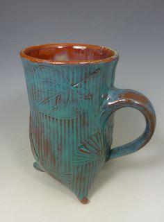 TURQUOISE MUG. Handbuilt Mug with by SharonMirandaPottery on Etsy
