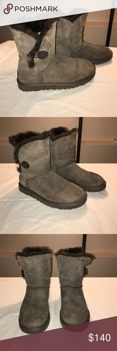 """Women's Ugg Boots (Bailey Button II) Never worn brown ugg boots. The boots are in excellent condition. Details: Pretreated Twinface and suede; Wood button closure; UGGpure™ wool insole; Treadlite by UGG™ outsole; 7.5"""" shaft height. UGG Shoes Winter & Rain Boots"""