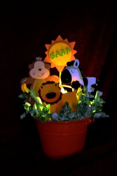 "14 inch Children's Night Light and Bedroom Accessory by Glograms- Jungle-  ""Going Bananas"""