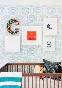 Project Nursery - Nursery Gallery Wall with Felt Ball Letter