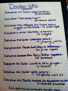 Doctor Who workout! Make up workouts to go with your favorite tv shows. Love it!