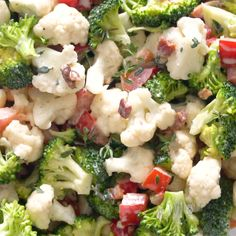 Jun 2019 - Low Carb Broccoli Cauliflower Salad With Bacon And Mayo - Low carb broccoli cauliflower salad takes just 10 minutes! This easy broccoli and cauliflower salad recipe is super simple, colorful, and great for any occasion. Brocoli And Cauliflower Salad, Broccoli Salad Bacon, Broccoli Recipes, Vegetable Recipes, Baked Cauliflower, Low Carb Appetizers, Appetizer Recipes, Salad Recipes Video, Diet Salad Recipes