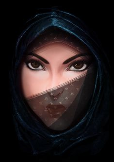 Arabic eyes Picture (2d, portrait, concept art, arabic, girl, woman)