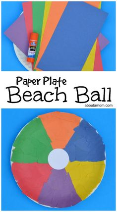 This beach ball craft is a fun summer themed paper plate kid craft.