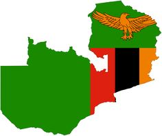Flag of Zambia on a map of Zambia