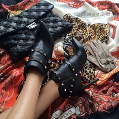 """Fall essentials.  #Chanel 'Walk of fame' flap bag and gloves. #Hermès scarf and #Valentino boots."""