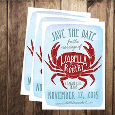 Printable Nautical Crab Save the Date Ocean by littlehamdesign