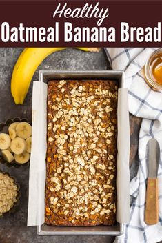 Fluffy, moist Oatmeal Banana Bread made with healthy ingredients like oats, ripe bananas, spices, and maple syrup. Easy to make and absolutely delicious! #wellplated #greekyogurt #maplesyrup Oatmeal Banana Bread, Healthy Banana Bread, Banana Bread Recipes, My Recipes, Baking Recipes, Snack Recipes, Favorite Recipes, Dessert Bread, Bread Cake