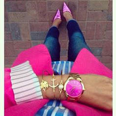 Pink Blazer, Striped Blue & White Long Sleeve, Jeans & Pink Pointed Heels