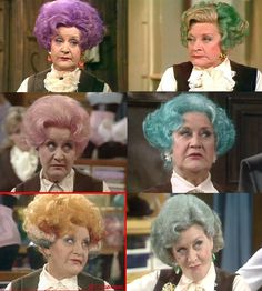 "Although these are pics of Mrs."", the hair colours are not a joke. Women were dying their hair in these weird shades LONG before it was made popular again in the British Tv Comedies, Classic Comedies, British Comedy, British Actors, Bbc Tv Shows, Movies And Tv Shows, Mollie Sugden, Young Movie, Are You Being Served"
