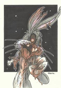 Bugs Bunny Zombie Piers Hazell on We Heart It Trippy Drawings, Disney Drawings, Cartoon Drawings, Cartoon Art, Time Cartoon, Cartoon Illustrations, Cartoon Characters, Arte Horror, Horror Art