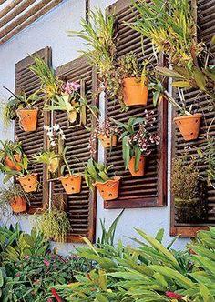 Usar janelas venezianas antigas como suporte para vasos.