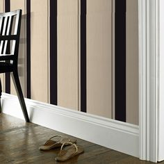 black, cream striped wallpaper. upstairs bathroom