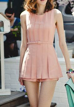 Sweet Solid Color Ruffled Bodycon Tank Dress Playsuit Short Jumpsuits for big sale!