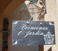 """Ardoise """"bienvenue O jardin"""" : Accessoires de maison par la-cage-a-deco"""
