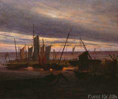 Caspar David Friedrich - Schiffe im Hafen am Abend