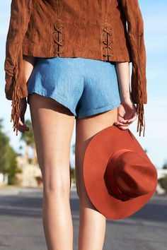 Brixton Piper Hat - chambray romper & fringe jacket coming soon! #festivalfashion