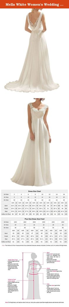Mella White Women's Wedding Dresses for Brides Lace Wedding Dress 2017 (Custom). Mella Bridal White Women's Lace Wedding Dress for Bride 2017 Evening Dress Double V-Neck Sleeveless Free Super Gift: 30$ worth of Long Bridal Veils with Lace appliques, up to 9 ft (approximately 3m), Same Lace pattern as that of the wedding dress shown in picture. Perfect match for the brides. Standard Size Option: Choose the size from the dropdown menu according to our Size Chart Image displayed next to the...
