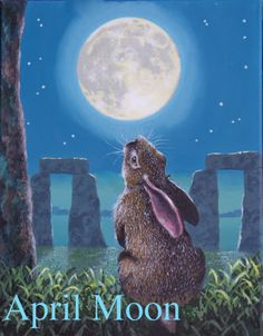 A thoughtful hare with moonlit Stonehenge in the background-- very nice scene.-- Michael McClintock.