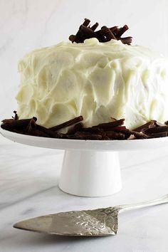 Intense chocolate cake with cream cheese icing.