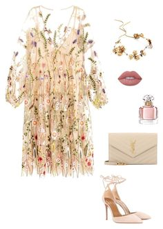 """""""floral dress"""" by katka-klimova ❤ liked on Polyvore featuring Aquazzura, Twigs & Honey, Yves Saint Laurent, Guerlain and Lime Crime"""
