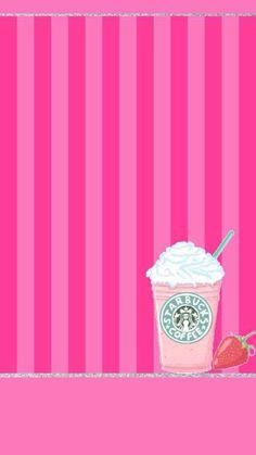 かわいいスタバのストロベリーストライプ iPhone壁紙 Wallpaper Backgrounds iPhone6/6S and Plus Starbucks