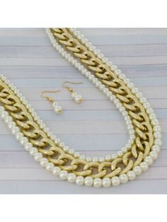 Pearl and Textured Goldtone Chain Necklace and Earring Set