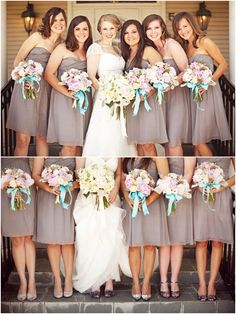 Amazing bouquets with that striking blue ribbon via Pretty Little Weddings.