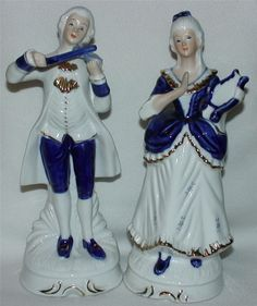 Blue And White Victorian Figurines Porcelain With Gold Made In