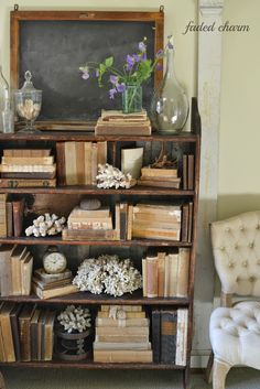 Books are wonderful - they fit in with every style - choose faded and worn vintage ones, choose ones with colorful covers, or just stick with the ones you enjoy!