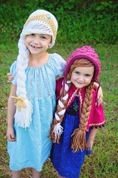 Frozen Inspired Elsa and Anna Hats combo by AmysCustomCrochet23, $48.00