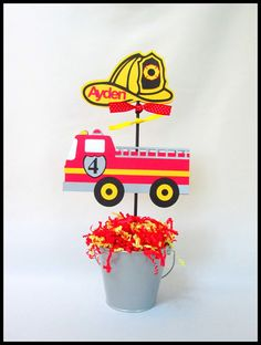 Fire Engine/ Fire Truck Birthday Theme Centerpieces by LaLaLissyLou, $28.00