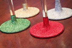 Glitter glassware so it's washable! | InspireDesignandCreate