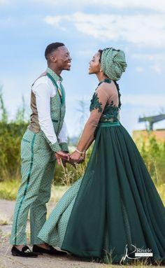 #seshweshwe #green #love #traditionalwedding #makoti #traditionalweddingdress Seshweshwe Dresses, Fashion Dresses, Bridesmaid Dresses, Groomsmen Outfits, Groom Attire, African Fashion Traditional, Ankara Dress Styles, Traditional Wedding Dresses, African Wear