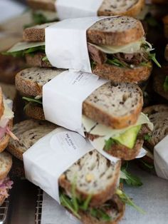 Gourmet sandwiches to go Sandwich Packaging, Food Packaging, Packaging Design, Good Food, Yummy Food, Sandwich Shops, Sandwich Catering, Catering Food, Cooking Recipes