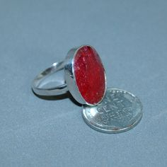 Size 8 1/2 Sterling Silver Oval Ruby Ring July by ChaceandAbbott