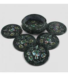 Green Marble Coaster Set Inlaid with Semiprecious Stones Beautiful Design