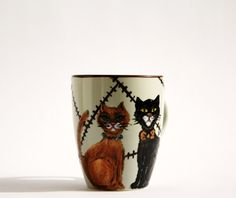 Hand Painted Ceramic mug cup Cats by NevenaArtGlass on Etsy, $23.80
