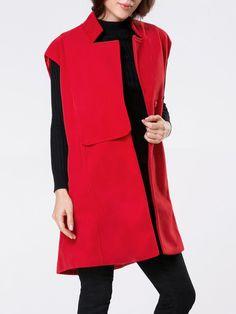 Band Collar Plain Sleeveless Woolen Coat Only $29.95 USD More info...
