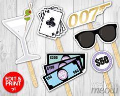 50 Piece Secret Agent James Bond Photo Props INSTANT by wowwowmeow